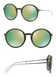 8a31ce24d915f  150 - Ray-Ban Womens Mirror Collection Sunglasses (RB4222) Green Green  Plastic - Non-Polarized - 50mm  rayban