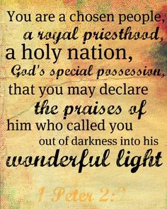 1 Peter 2:9  But you are a chosen people, a royal priesthood, a holy nation, God's special possession, that you may declare the praises of him who called you out of darkness into his wonderful light.