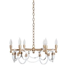Ro Sham Beaux Claire White Chandelier RSBCLAWB