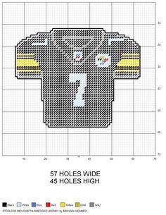 Pittsburgh Steelers Ben Roethlisberger NFL Football Jersey plastic canvas pattern by Michael Kramer
