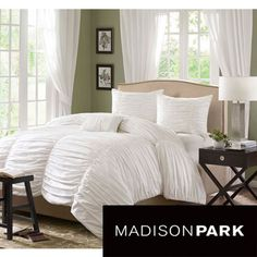 @Overstock - Eye-catching style meets comfort in the Madison Park Catalina cotton duvet cover set. The duvet cover features a cotton face and soft, brushed micro-fiber on the reverse, making it a chic and cozy addition to your contemporary decor.http://www.overstock.com/Bedding-Bath/Madison-Park-Catalina-4-piece-Duvet-Cover-Set/6629554/product.html?CID=214117 $79.99