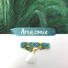 Bracelet AMAZONIE en perles Miyuki tissées.  Bijoux faits-main avec amour par Mademoiselle Miaouss.