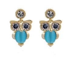 Amazon.com  Tanboo Bling Bling Delicate Crystal and Zircon Inlaid Owl  Earrings cb32d39e5192