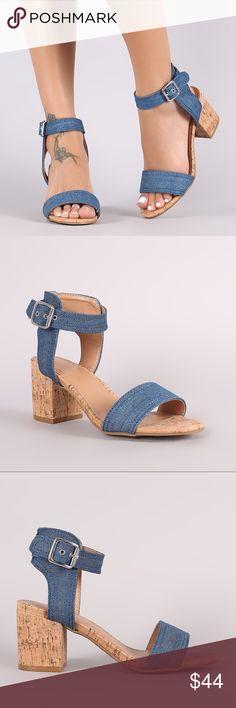 Denim Cork Block Heels Beautiful denim heels with a comfortable cork block heel. Medium width and true to size. Heel measures 3 inches. Bamboo Shoes Heels