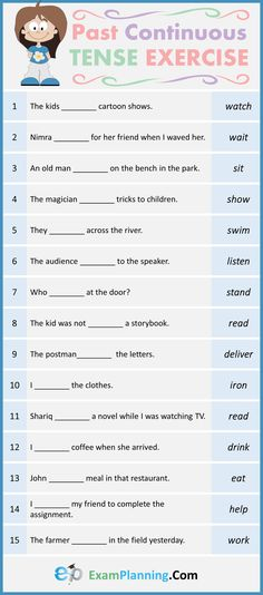 Past Continuous Tense Exercises - ExamPlanning % English Grammar Tenses, English Phonics, English Grammar Worksheets, English Verbs, English Vocabulary, English Grammar For Kids, Teaching English Grammar, Grammar Lessons, English Lessons