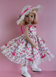 """Salstuff Strappy floral cotton Sundress with lined bodice and tulle & lace underskirt, with Little Teddy and Coat Hanger. Hat can also be purchased. For Little Darling 13"""" dolls.  Handmade in the UK and ships to most countries."""