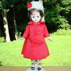 1963 Cissette Doll 748 in Red Silk Suit Brunette Bubble Cut Madame Alexander HTF