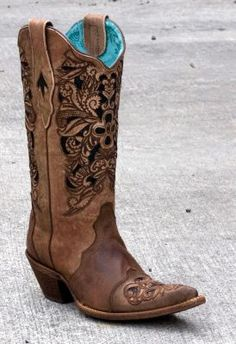 Ladies Corral Laser Tooled Cowboy Boots (via @Allens Boots)