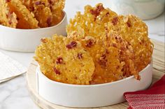 Try these Loaded Baked Potato Cheese Crisps for a savory appetizer. Top crispy potato chips with cheddar cheese and bacon in this flavorful Loaded Baked Potato Cheese Crisps recipe. Cheese Crisps, Baked Cheese, Cheddar Cheese, Creamed Onions, Recipes Appetizers And Snacks, Hot Appetizers, Desserts, Bacon, Loaded Baked Potatoes
