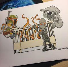 Brian Kesinger Star Wars Comic (Calvin and Hobbes) - with Kylo Ren, Boba Fett, and bounty hunter.