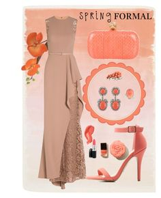 """""""Spring Formal Coral"""" by stillwindy on Polyvore featuring Elie Saab, Anne Michelle, Alexander McQueen, Ellen Conde, Kenneth Jay Lane, Michael Valitutti, coral, SpringStyle and springformal"""