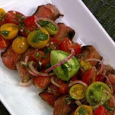 Michael Symon's Rib-Eye With Tomato Salad - the chew - ABC.com