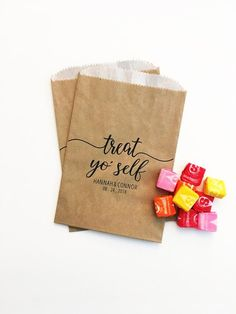 a8a9d524db75 LINED Treat Yo Self Bags - Wedding Candy Bags