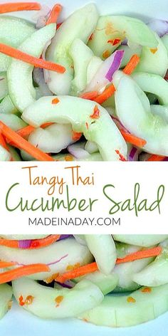 Tangy Thai Cucumber Salad - Tangy Recreate this restaurant favorite at home! Asian Cucumber Salad, Cucumber Recipes, Thai Recipes, Veggie Recipes, Salad Recipes, Cooking Recipes, Recipe For Cucumber Salad, Juicer Recipes, Fast Recipes
