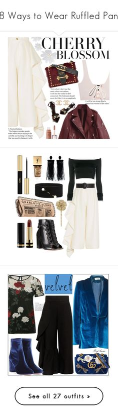 """""""18 Ways to Wear Ruffled Pants"""" by polyvore-editorial ❤ liked on Polyvore featuring RuffledPants, Solace, Puma, Prada, Lanvin, Chanel, Gianvito Rossi, Charlotte Olympia, Alexandre Vauthier and Zeynep Arçay"""