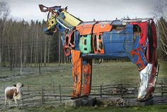 Artist Miina Äkkijyrkkä created these bovine sculptures using body parts from junked cars. She's made enough of them for a veritable automotive animal farm.  http://unconsumption.tumblr.com/post/30866755948/thingsrecycledusefully-giant-cows-made-from