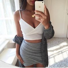 "glamblack: "" Crop top >> Grey bodycon skirt >> Knitwear >> """