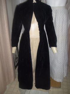 Antique Victorian blue velvet long coat or dress with bustle area and back silk bow in original condition from the true Victorian/ Edwardian age c. 1890. A great steam punk coat. front | eBay!