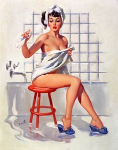 And another pin-up print for the bathroom