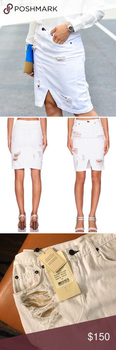 """Rag & bone White Denim Skirt Shredded white. Popular skirt worn by many bloggers (as shown in first photo). 65% cotton, 35% tencel. Approx 21"""" length. Size 26, or size 2. Front split vent. Offers welcome through offer tab. No trades. 10602161291 rag & bone Skirts Pencil"""