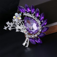 Fashion Christmas Party Brooch Vintage Jewelry Rhinestone Flower Brooches Pin Crystal Pink/Blue Brooch For Women #Affiliate