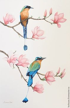 Chinese Bird Painting Flower 47 Ideas The Effective Pictures We Offer You About Bird artwork A quali Watercolor Bird, Watercolor Paintings, Bird Paintings, Bird Artwork, Motif Floral, Bird Illustration, Bird Drawings, Botanical Art, Chinese Art