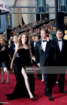 Actors Brad Pitt (L) and Angelina Jolie arrive at the 84th Annual Academy Awards held at Hollywood & Highland Centre on February 26, 2012 in Hollywood, California.