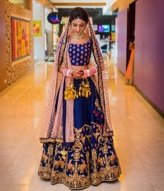 100 Latest Designer Wedding Lehenga Designs for Indian Bride - LooksGud. Latest Bridal Lehenga, Bridal Lehenga Choli, Pink Lehenga, Royal Blue Lehenga, Lehenga Saree, Anarkali, Indian Bridal Outfits, Indian Bridal Wear, Indian Wear
