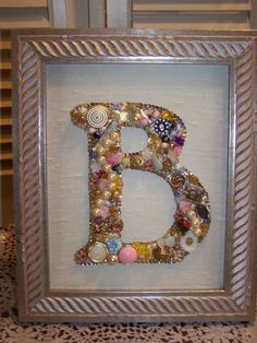 Custom Monogram Initial Jewelry Art Assemblage, vintage jewels Framed collage, Picture Letter A, b c d e f j k l m n o p r s t w y