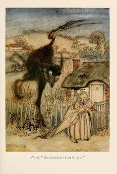 Flora Annie Steel. English Fairy Tales. London, 1927. Illustrations by Arthur Rackham. 'The Bogey-Beast'.