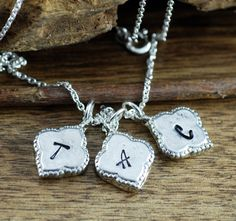 Personalized Initial Necklace, Delicate Initial Necklace, Hand Stamped Silver Initial Jewelry, Gift for her, Friends Necklace, Gift for Mom by AnnieRehJewelry on Etsy Initial Jewelry, Initial Necklace, Dog Tag Necklace, Friend Necklaces, Hand Stamped Jewelry, Gifts For Mom, Initials, Delicate, Trending Outfits