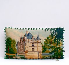 Large French Needlepoint Chateau Tapestry Bobble by Retrocollects £65 https://www.etsy.com/shop/Retrocollects