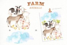 Ad: Farm Animals Watercolor clipart by everysunsun on The set of high quality hand painted watercolor farms animals and elements. A pig, sheep, goat, chicken, cow and other animal illustrations Animals Watercolor, Watercolor Clipart, Watercolor Background, Art Clipart, Nursery Prints, Nursery Art, Woodland Animals, Farm Animals, Safari