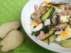 Insalata di zucchine grigliate con tonno e uova