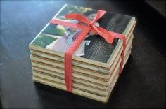 mod podge do it yourself photo coasters as a gift; mothers day, fathers day, newlyweds, etc.