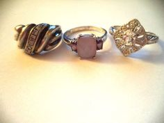 Lot of three rings sterling silver sz.9.5-10 purple stone *pretty vintage rings* | Jewelry & Watches, Vintage & Antique Jewelry, Fine | eBay!