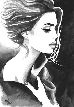 Print from Original Watercolor Illustration Woman Art by Mysoulfly