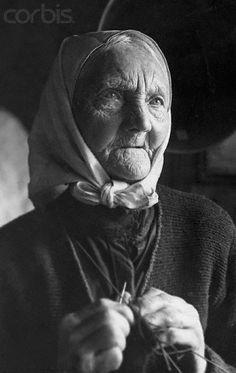 beautiful woman knitting by feel