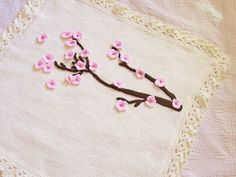 Cherry blossoms knit baby blanket by PinkyRoo on Etsy