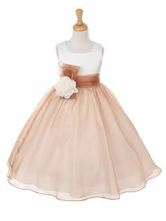 Mocha Organza Dress with Pin-on Flower and Bow - Toddler & Girls (2-12)