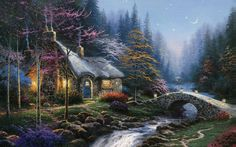 Twilight Cottage, Thomas Kinkade, Malerei, Thomas Kinkade, Kunst, Mond, Sternen, Wälder Vektorgrafik