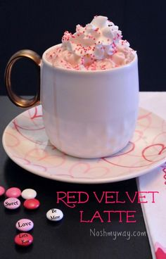 A  touch of pink turns this rich mocha into a Red Velvet Latte.