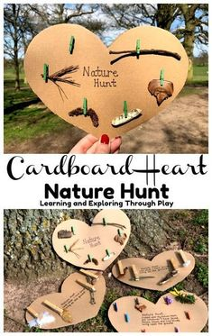 old Crafts Camping Nature Hunt Cardboard Hearts - Forest School Forest School Activities, Nature Activities, Toddler Activities, Learning Activities, Outdoor Activities, Kids Nature Crafts, Outdoor Games, Outdoor Play, Kid Crafts