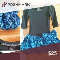 Couture Formal Dress EUC! Black ballet neckline top with midnight blue feather-like rosette detail skirt (it's fabric though) and tulle underskirt.  Absolutely darling! Dolls and Divas Couture Dresses Formal