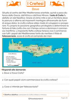 I Cretesi: Schede Didattiche per la Scuola Primaria   PianetaBambini.it Problem Solving, History, World, Tattoo, Studio, Socialism, Dyscalculia, Ancient Greece, Learning
