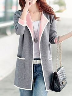 MCCKLE Long Sweaters 2017 Women Autumn All-match Patchwork Full sleeve Slim Pocket Knitted Cardigan Sweater women sweater coat Long Sweaters For Women, Coats For Women, Clothes For Women, Ladies Sweaters, Knit Jacket, Knit Cardigan, Long Cardigan, Bomber Jacket, Plus Size Pullover