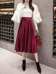 bfacddfbfc CLICK on the photo to SHOP this beautiful skirt :) New burgundy pleated  metallic velvet