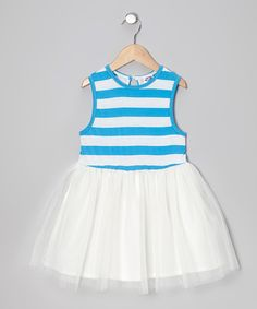 Look at this Twindollicious Ocean Blue Stripe A-Line Dress - Infant, Toddler & Girls on #zulily today!