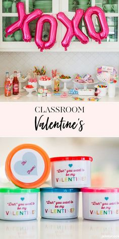 Easy Classroom Valentine's Day Ideas | Needing a cute classroom valentine for your littles or maybe something fun to give to your co-workers? We've got you covered. || JennyCookies.com Valentines Day Party, Valentines Day Decorations, Valentines For Kids, Valentine Day Crafts, Vintage Valentines, Jenny Cookies, Party Themes, Party Ideas, Themed Parties