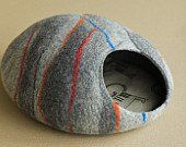 100% Merino Wool - Felted Cat Cave * Find out more details by clicking the image : Beds for Cats